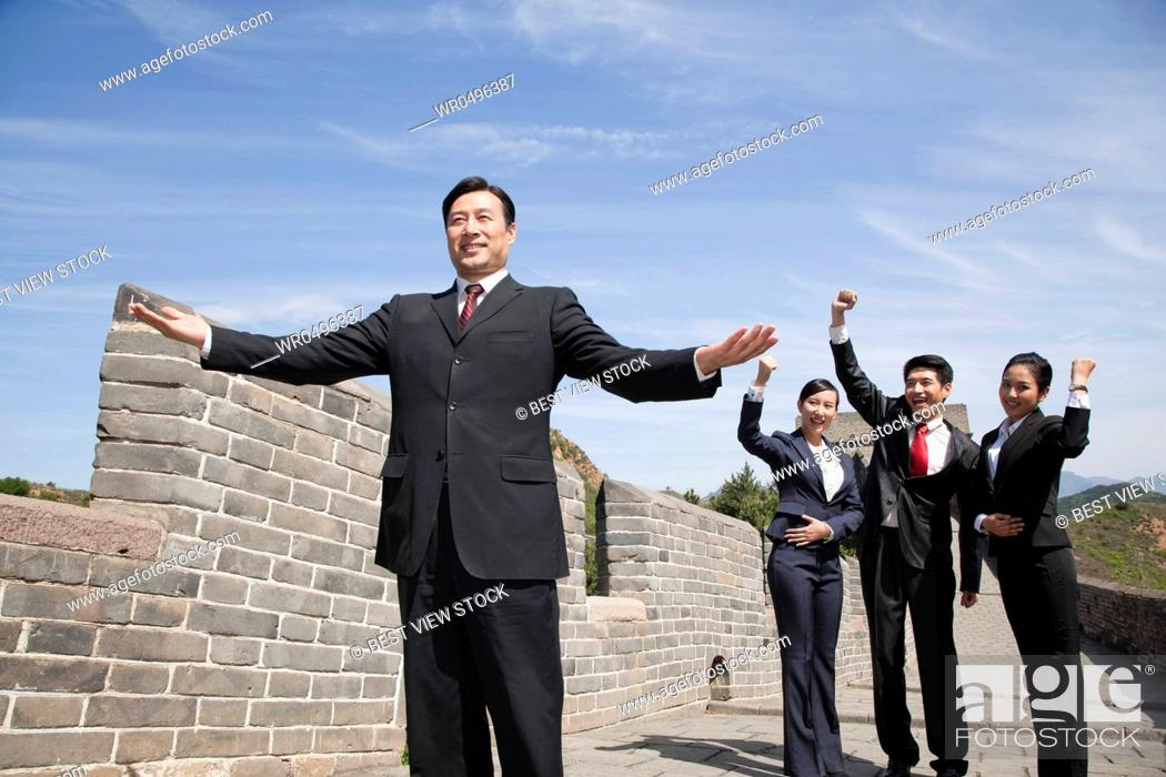 Stock Photo: Business woman on the Great Wall.