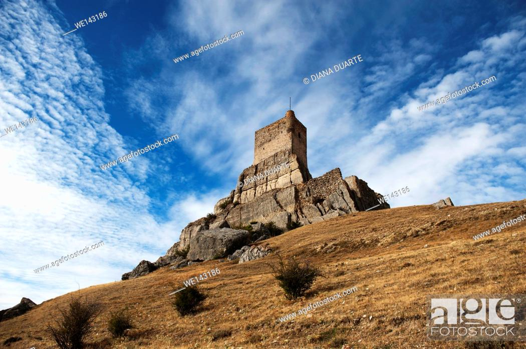 Stock Photo: Atienza is a clear example of a rock castle built on a tall abutment of rock. Atienza, Gudalajara, Spain.