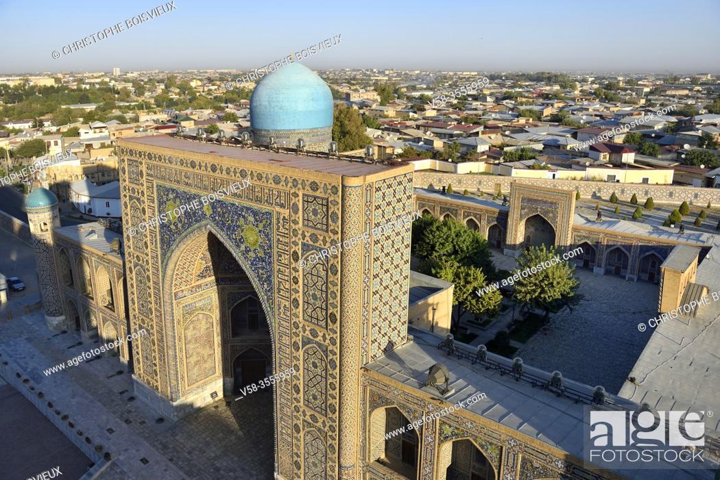 Stock Photo: Uzbekistan, Unesco World Heritage Site, Samarkand, Registan square, Tilla Kari madrasa.