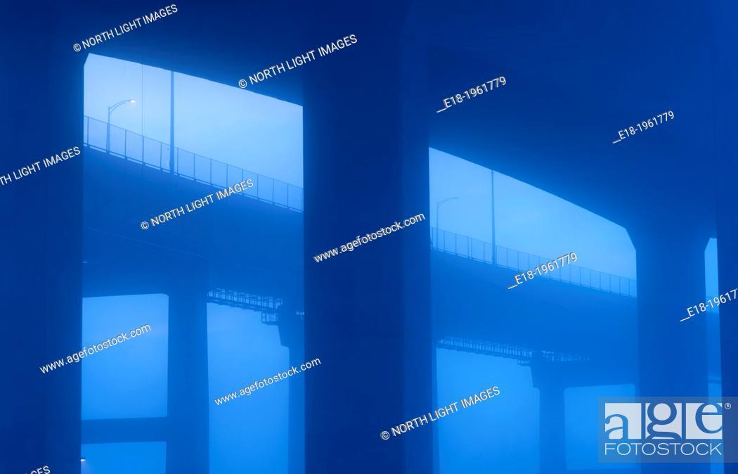 Stock Photo: Under the Port Mann Bridge at dawn, Coquitlam, British Columbia, Canada.