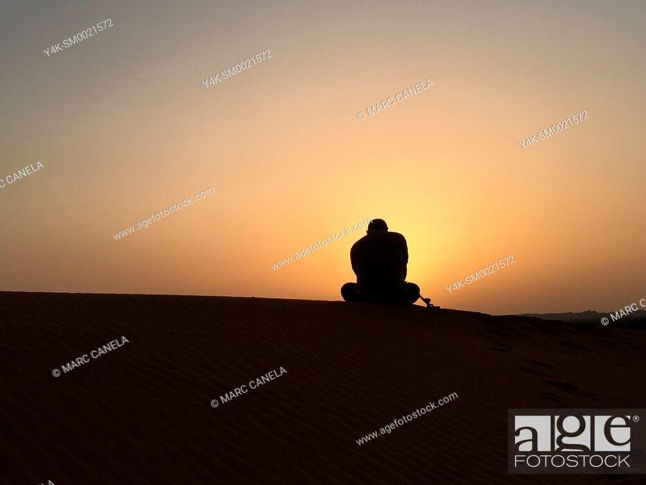 Stock Photo: Africa, Morocco merzouga desert sunrise.