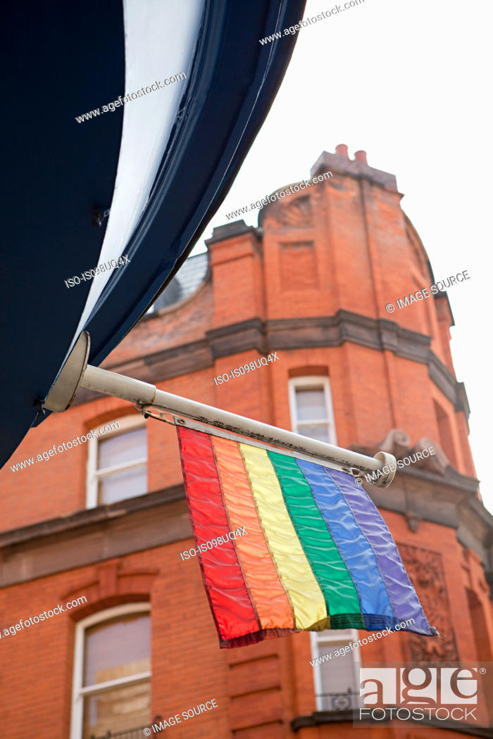 Stock Photo: Rainbow flag, Soho, London.