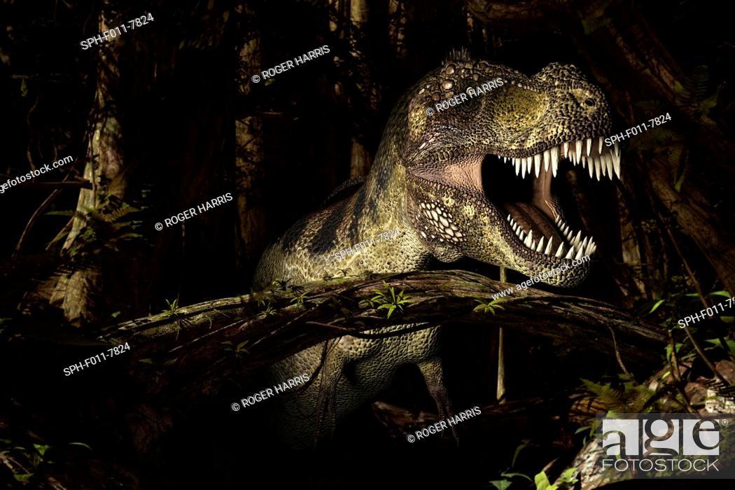 Stock Photo: Tyrannosaurus rex, computer illustration.