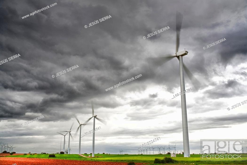 Stock Photo: Wind turbines. Albacete. Castilla-La Mancha. Spain.
