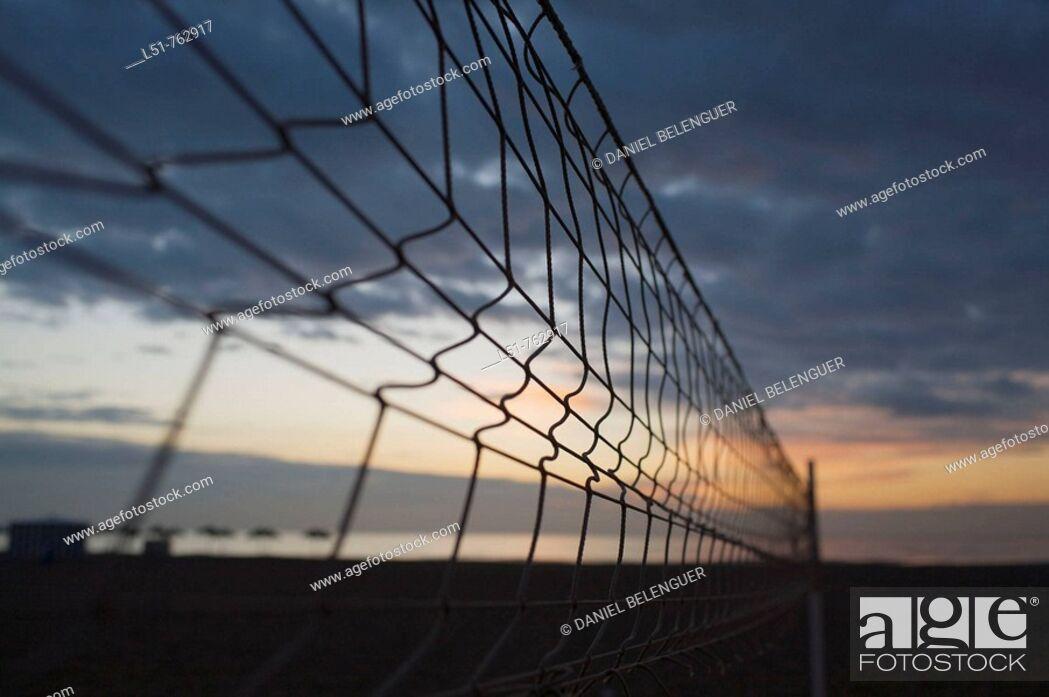 Stock Photo: volleyball net on Malvarrosa Beach, Valencia, Comunidad Valenciana, Spain, Europe.