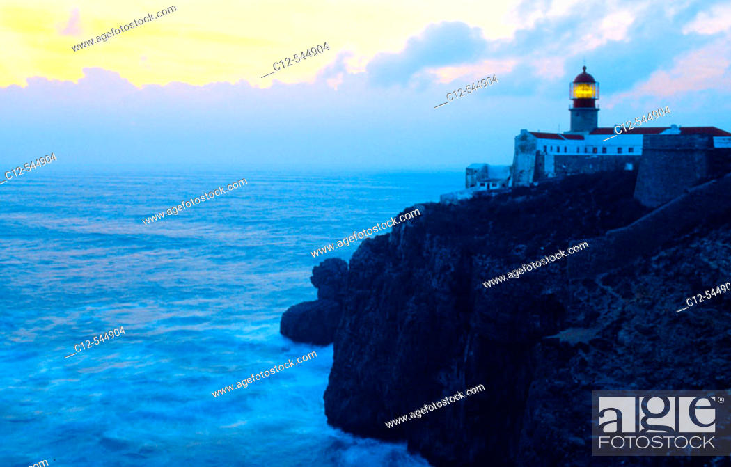 Stock Photo: Lighthouse at Cabo de São Vicente (aka Ponta de Sagres). Algarve, Portugal.