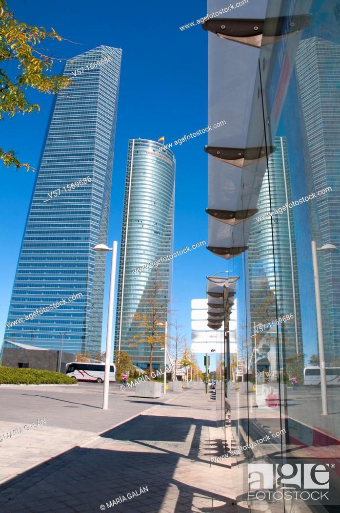 Stock Photo: Cristal Tower and Espacio Tower from bus stop, Paseo de la Castellana. Madrid, Spain.