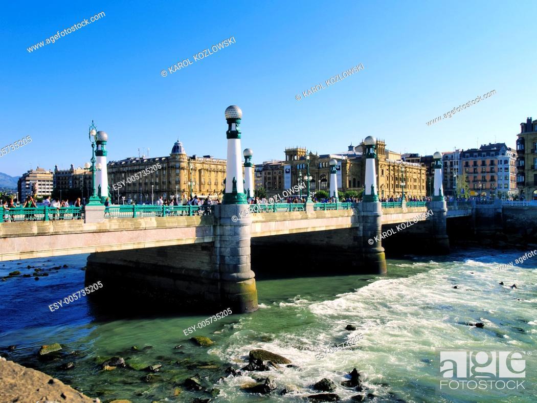Stock Photo: Zurriola Bridge in Donostia - San Sebastian, Basque Country, Spain.