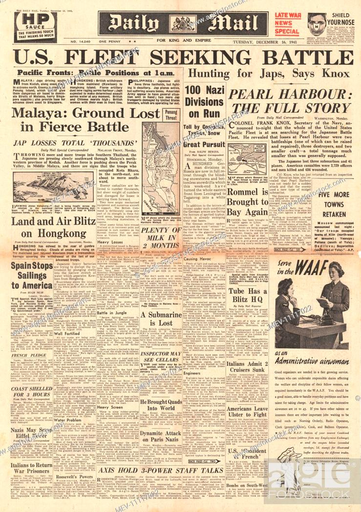 1941 front page Daily Mail U S  Pacific Fleet hunting