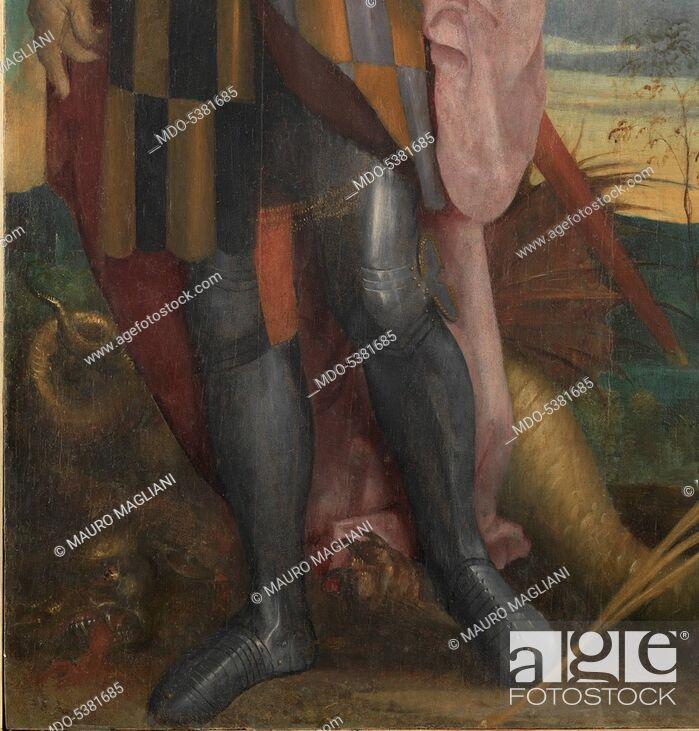 Imagen: Virgin and Child in Glory, Saint George and Victor the Moor (Madonna con Bambino in gloria, San Giorgio e San Vittore), by Lorenzo Luzzo known as Morto da.