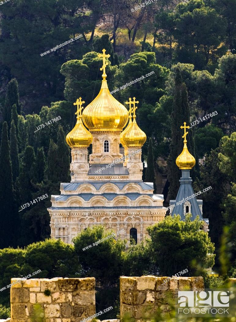 Stock Photo: The Russian Orthodox church of Maria Magdalene in Jerusalem.