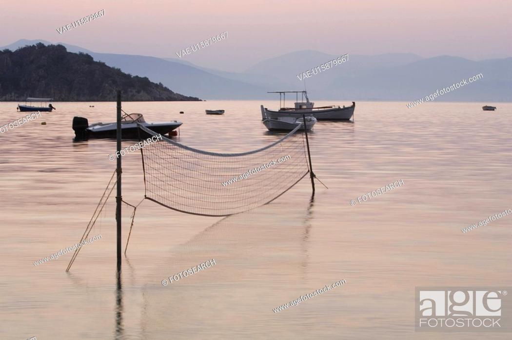 Stock Photo: Boat, Dusk, Equipment, Fishing Equipment, Fishing Net.