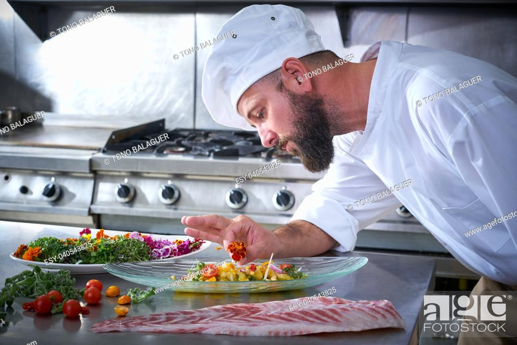Stock Photo: Chef garnishing flower in ceviche dish with hands at stainless steel kitchen.