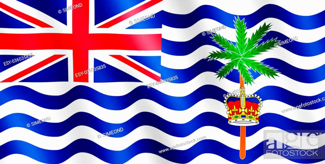 Stock Photo: Flag of British Indian Ocean Territory waving in the wind giving an undulating texture of folds in the fabric. The Image is in the official ratio of the flag -.