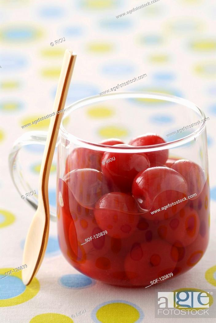 Stock Photo: Cherries in syrup.