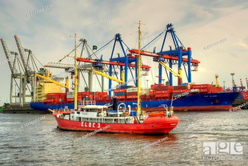 Stock Photo: Sea, Water, Three, Industry, River, Historic, Harbor, Port, Germany, Tradition, Cargo, Shipping, Sight, Ocean, Museum, Attraction, Ship, Containership, Excursion, Hamburg, Elbe, Marker, Seaport, 1888, Fracht, Burchardkai, Oevelgoenne, Museumshafen, Light-Vessel, Cargo Container