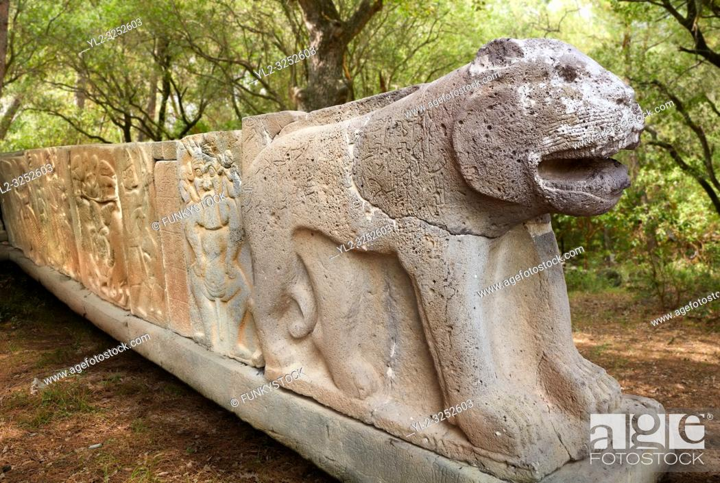 Stock Photo: Pictures & images of the North Gate Hittite sculpture stele depicting Hittite a lion and stele of Hittite gogs. 8th century BC.