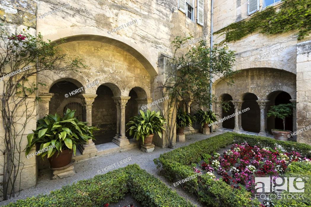 Stock Photo: Cloister of the Monastery of San Paul de Mausole at Saint-Remy de Provence, where Van Gogh spent in 1889. Bouches du Rhone, Provence, France.