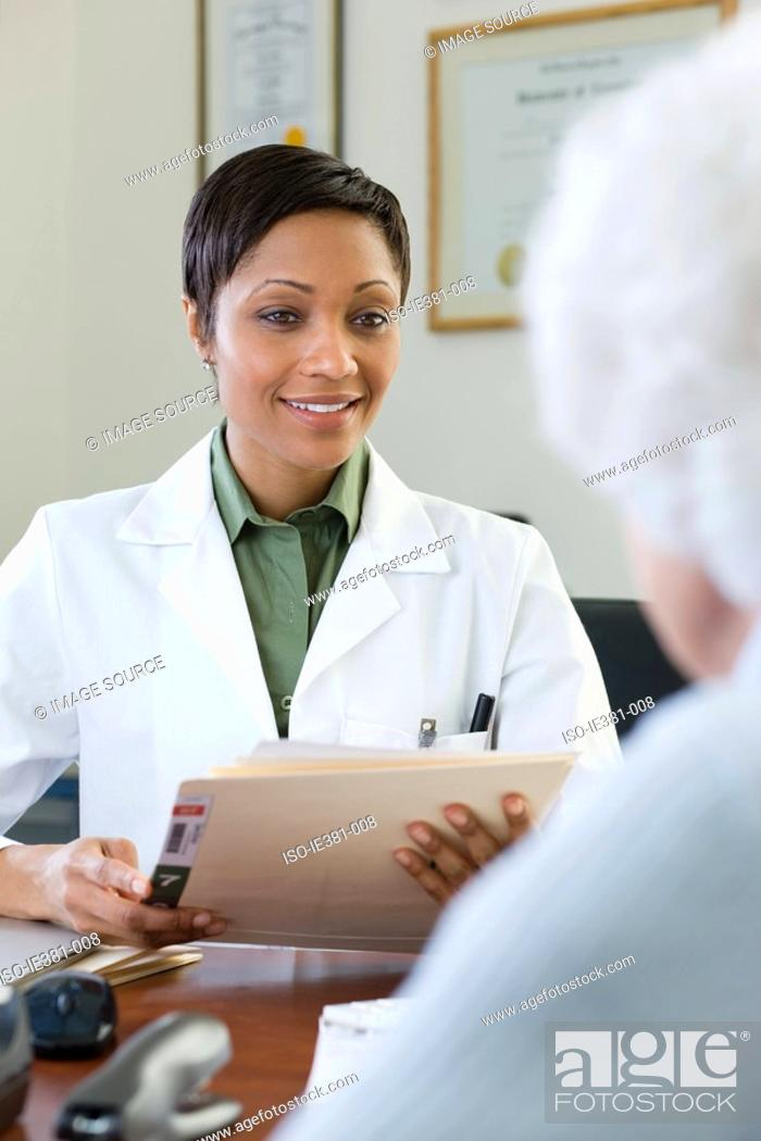 Stock Photo: A doctor and patient.