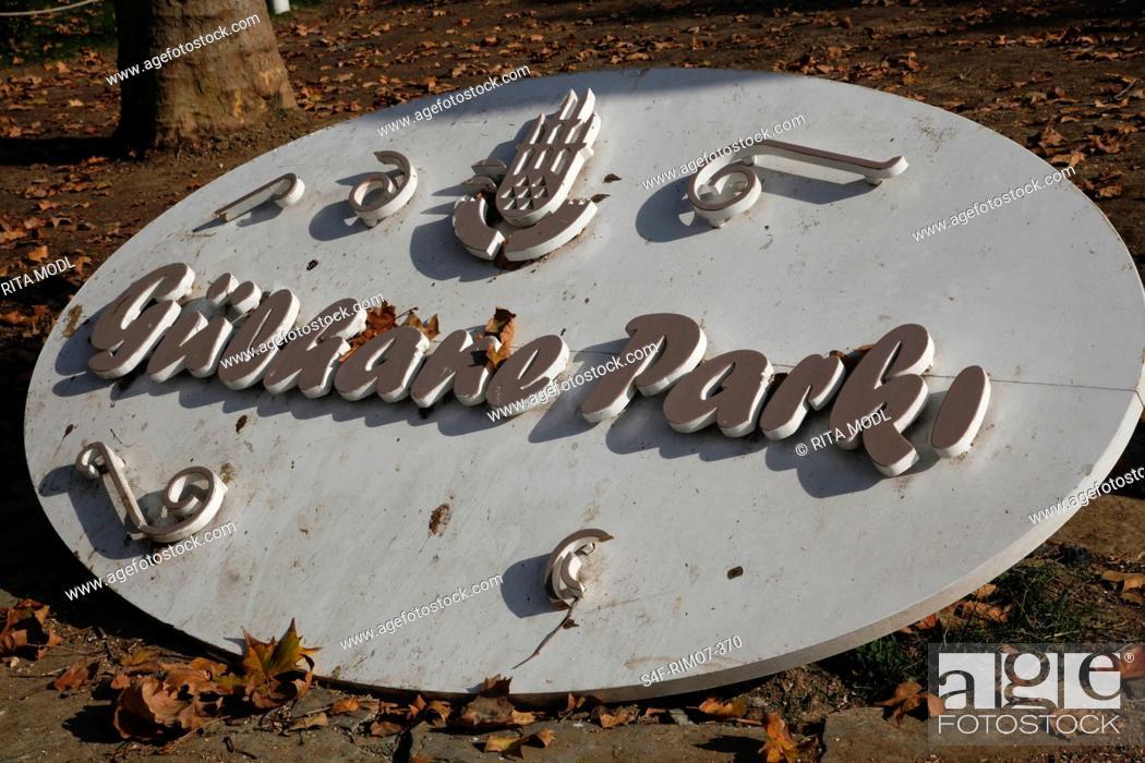 Stock Photo: Türkei, Istanbul, Gülhane-Park, Schild.