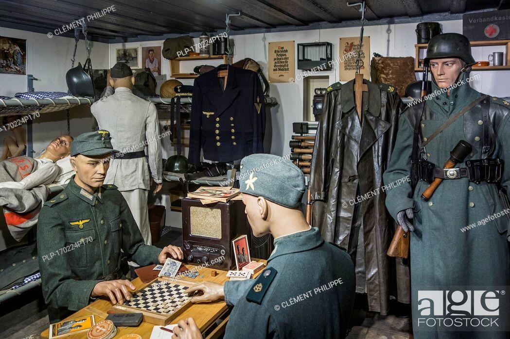 Stock Photo: German WWII soldiers' sleeping quarters in bunker at Raversyde Atlantikwall / Atlantic Wall open-air museum at Raversijde, Flanders, Belgium.