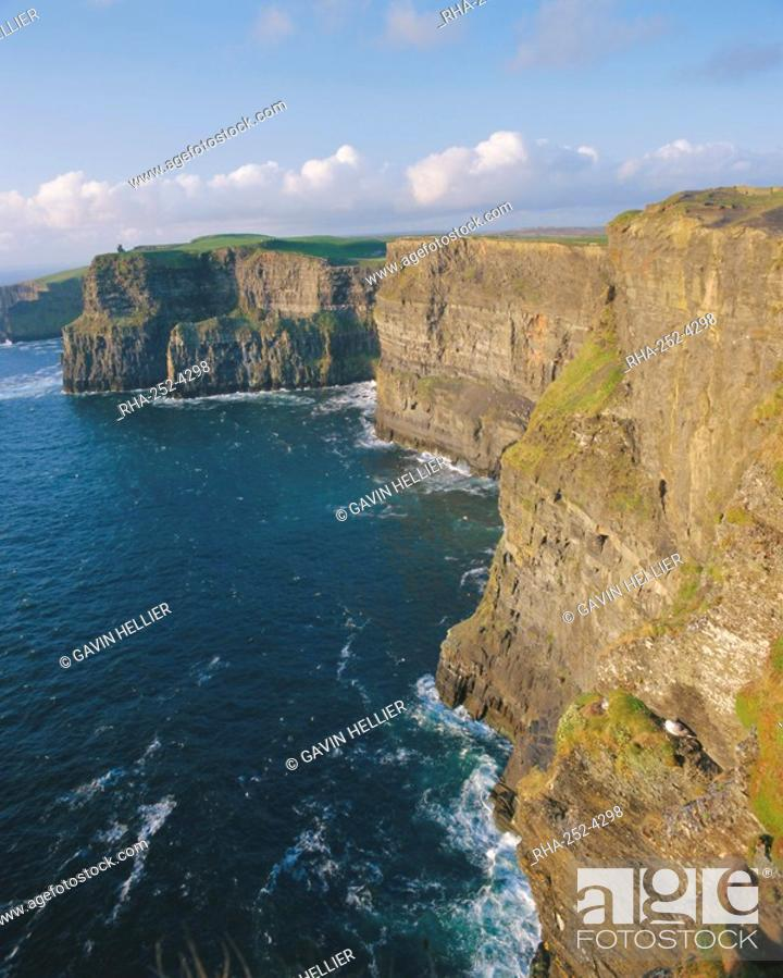 Stock Photo: O'Brian's Tower and Breanan Mor seastack looking from Hag's Head, the Cliffs of Moher 230m cliffs, County Clare, Munster, Republic of Ireland Eire, Europe.
