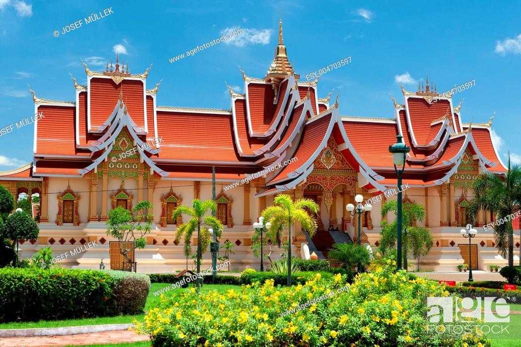 Stock Photo: buddhistische Architektur Vientiane.