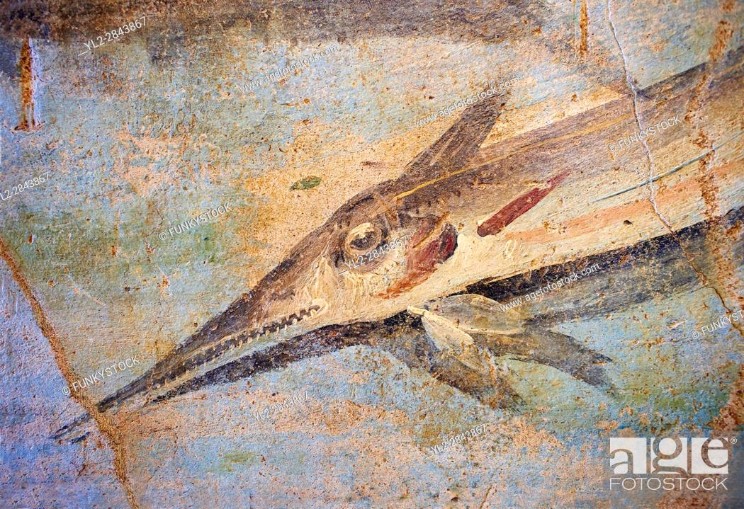 Stock Photo: Roman Fresco detail of fishes marine life from the second quarter of the first century AD. (mosaico fauna marina da porto fluviale di san paolo).