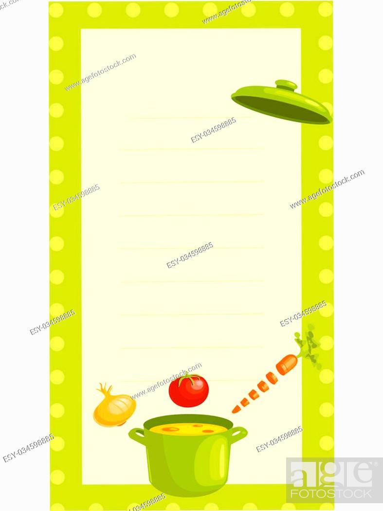Stock Photo: old fashioned recipe card , illustration.
