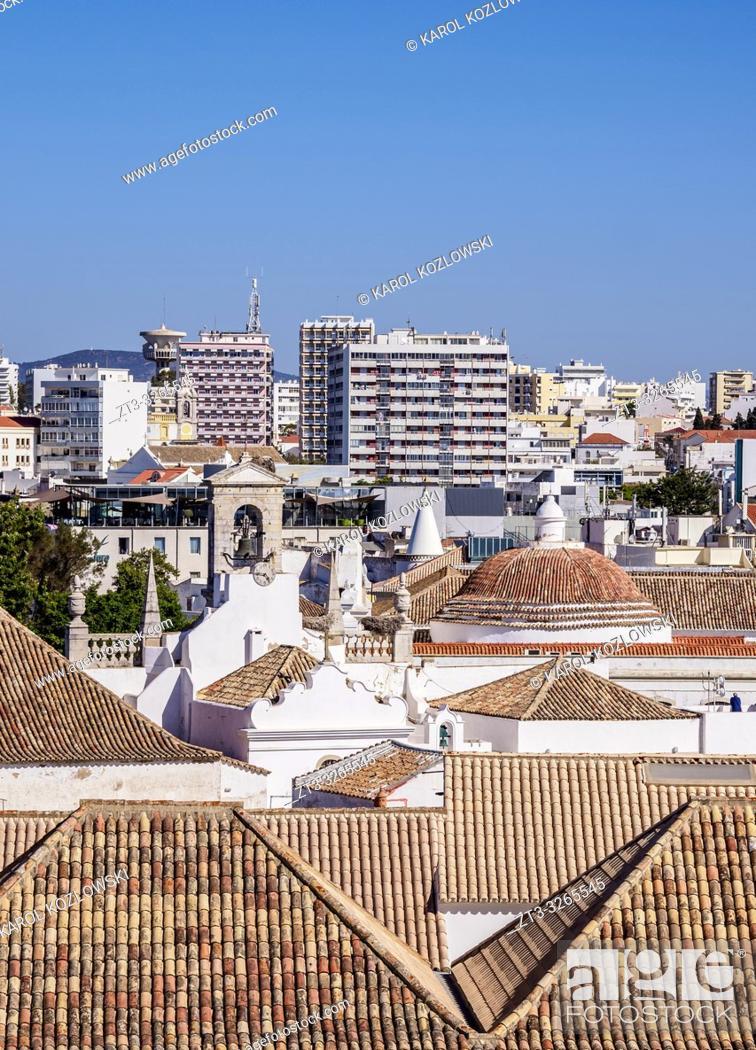 Stock Photo: Cityscape, elevated view, Faro, Algarve, Portugal.