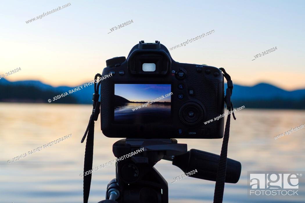 Stock Photo: Sunset photos shot on a DSLR digital camera mounted to a tripod at a lake in Oregon.