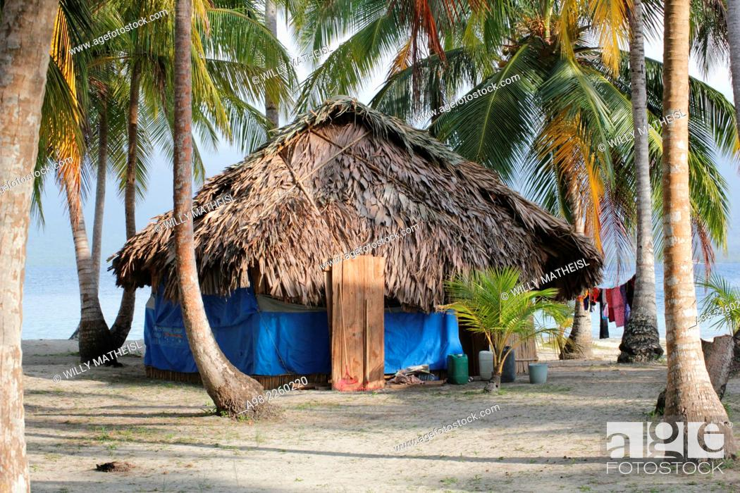 Stock Photo: traditional hut of the Kuna Indians on the sandy beach of San Blas Islands, Panama, Central America.