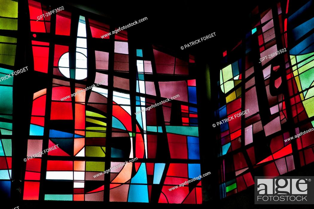 Stock Photo: STAINED-GLASS WINDOWS BY THE MASTER GLASSMAKER INGRAND MAX, SAINT-JEAN BAPTISTE CHURCH IN RECHEVRES, CHARTRES, EURE-ET-LOIR 28, FRANCE.