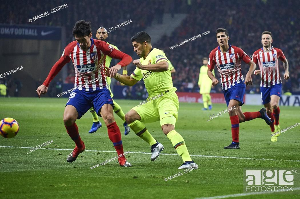 Stock Photo: Luis Suarez (forward; Barcelona) before La Liga match between Atletico de Madrid and F.C. Barcelona at Wanda Metropolitano on November 24, 2018 in Madrid, Spain.
