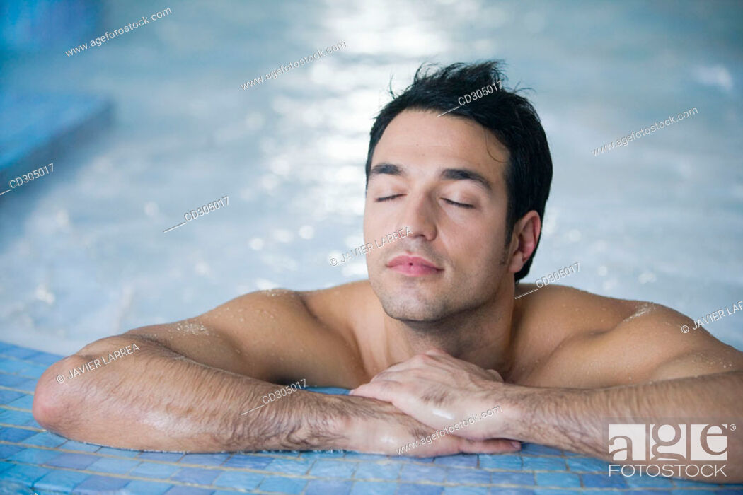Stock Photo: Therapeutic seawater pool (33ºC) with hydrojet, underwater massage jets, waterfalls, bubbles, shoulder and neck massage waterfalls, jacuzzis.