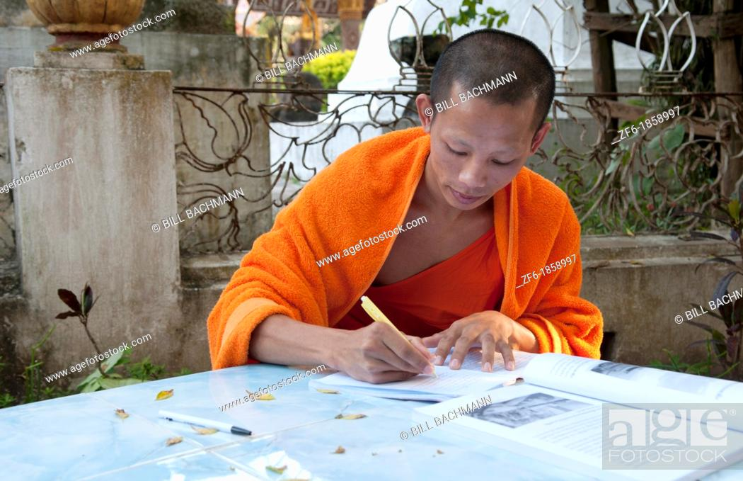 Awesome Luang Phabang Laos Lao Monk Relaxing And Writing Portrait In Interior Design Ideas Ghosoteloinfo