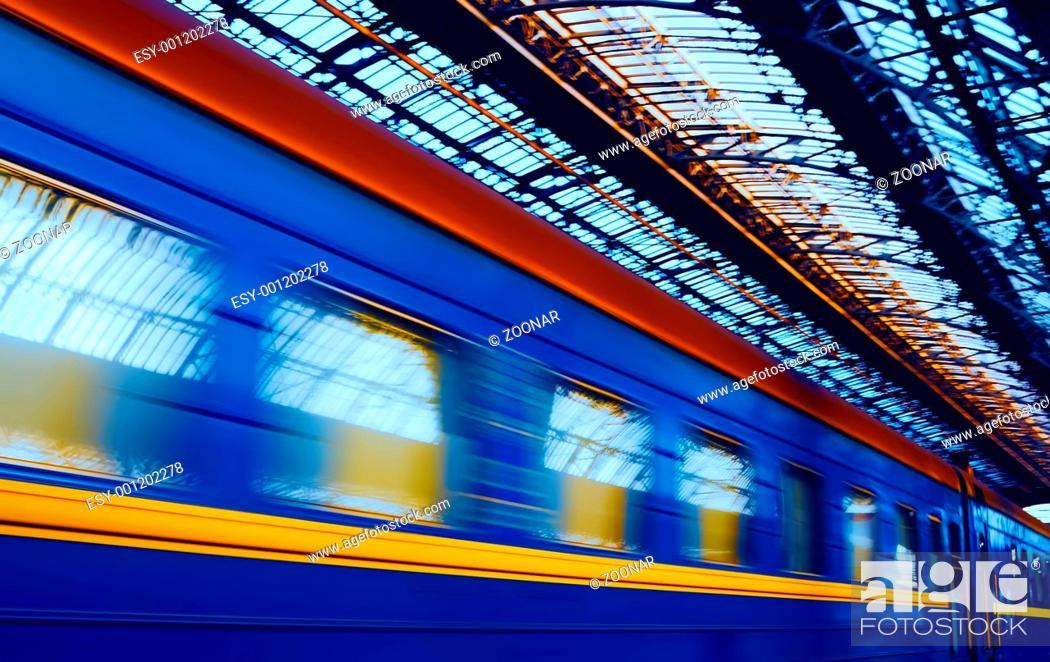 Stock Photo: Arrival of train.