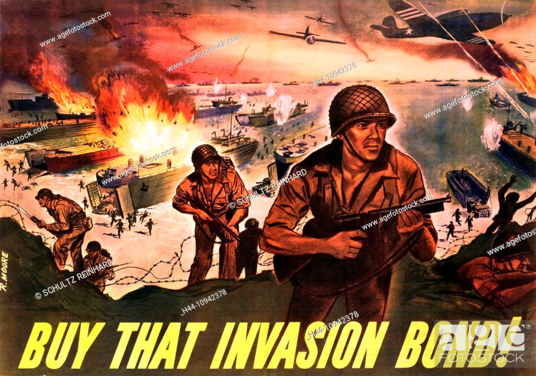 Stock Photo: World War II, Second World War, world war, war, poster, Propagana, propaganda poster, USA, American, invasion, soldier, ships, airplanes, explosion, fight.