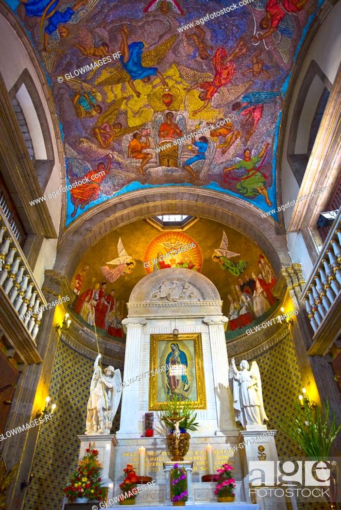 Stock Photo: Low angle view of the ceiling of a church, Virgin of Guadalupe, Mexico city, Mexico.