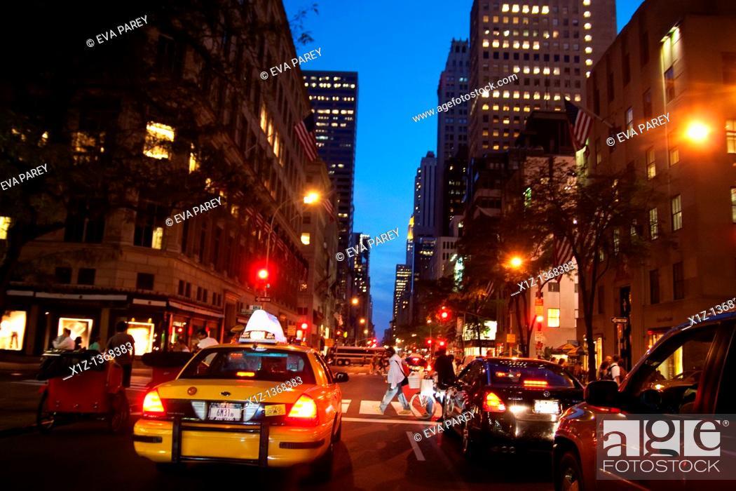 Stock Photo: Traffic in Midtown, Manhattan NY City.