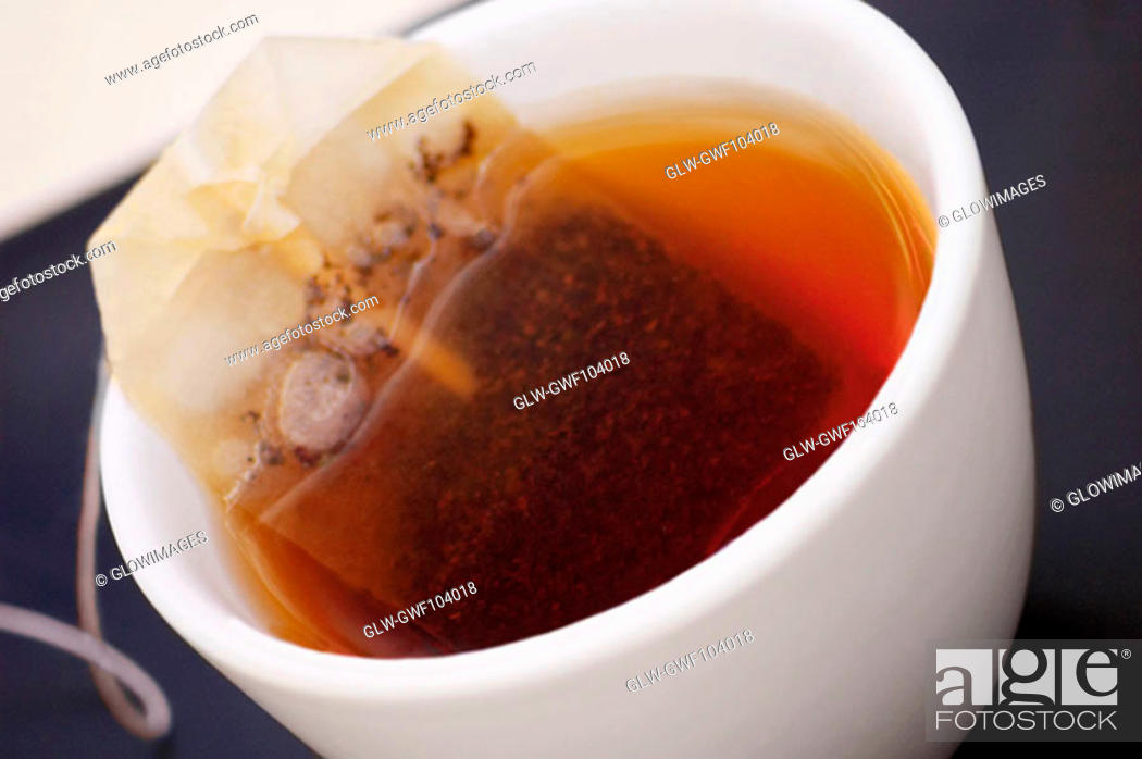 Stock Photo: High angle view of a cup of tea.