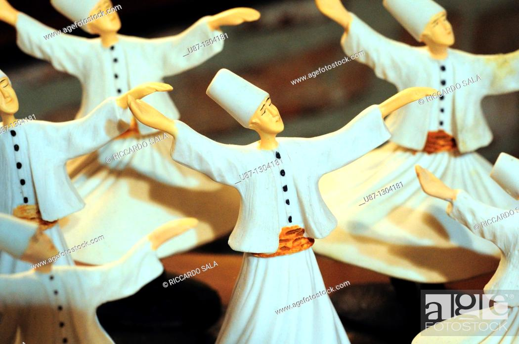 Stock Photo: Turkey, Istanbul, Shop Display, Whirling Dervish Souvenirs.