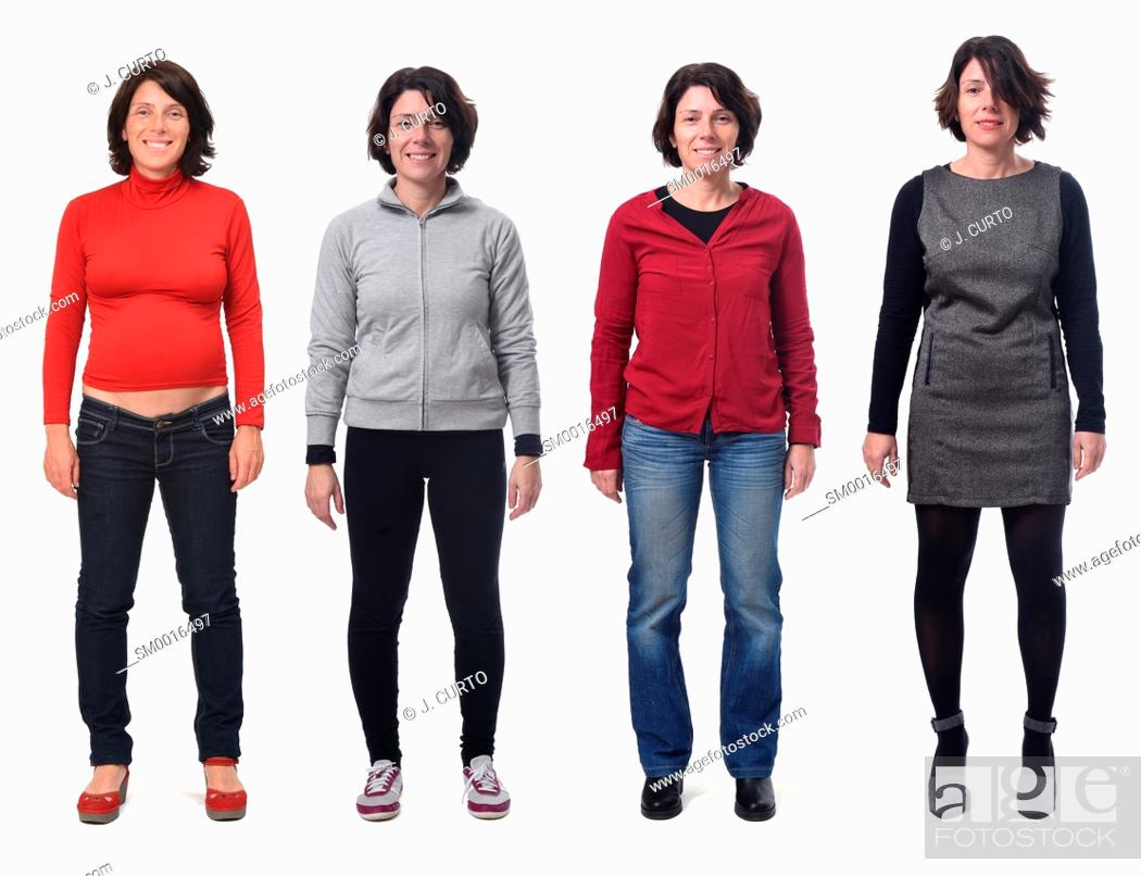 Stock Photo: Front view of a group of photos of the same woman in different costumes and also pregnant on white background.