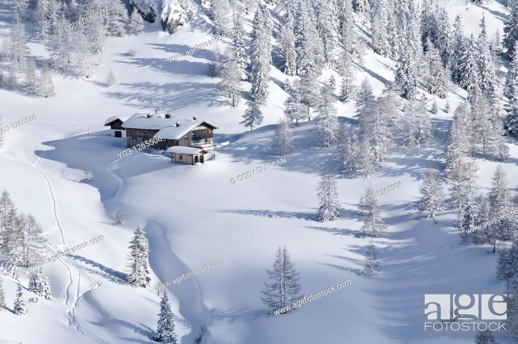 Stock Photo: Schneibsteinhaus near Torrener Joch pass 1733m in winter viewed from Jenner, Berchtesgaden national park, Germany.