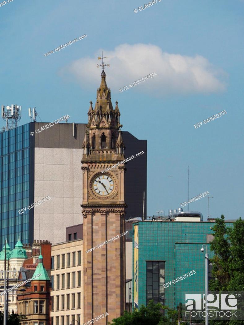 Stock Photo: Albert Memorial Clock (aka Albert Clock) tower in Belfast, UK.