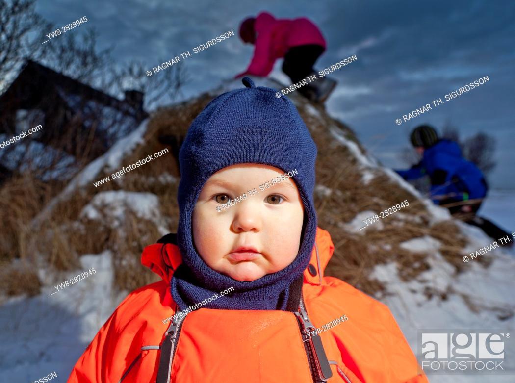 fcc9e3642 Boy (18 months) in snowsuit