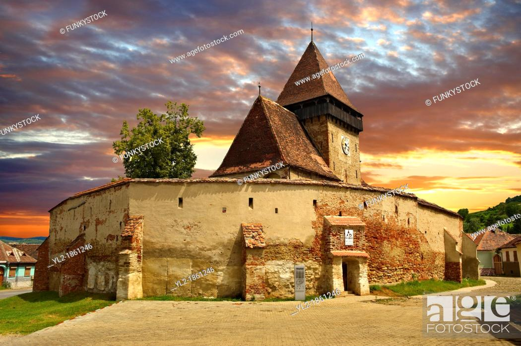 Stock Photo: The Gothic 14th Century Axente Sever Saxon Evangelical Fortified Church, Sibiu, Transylvania.