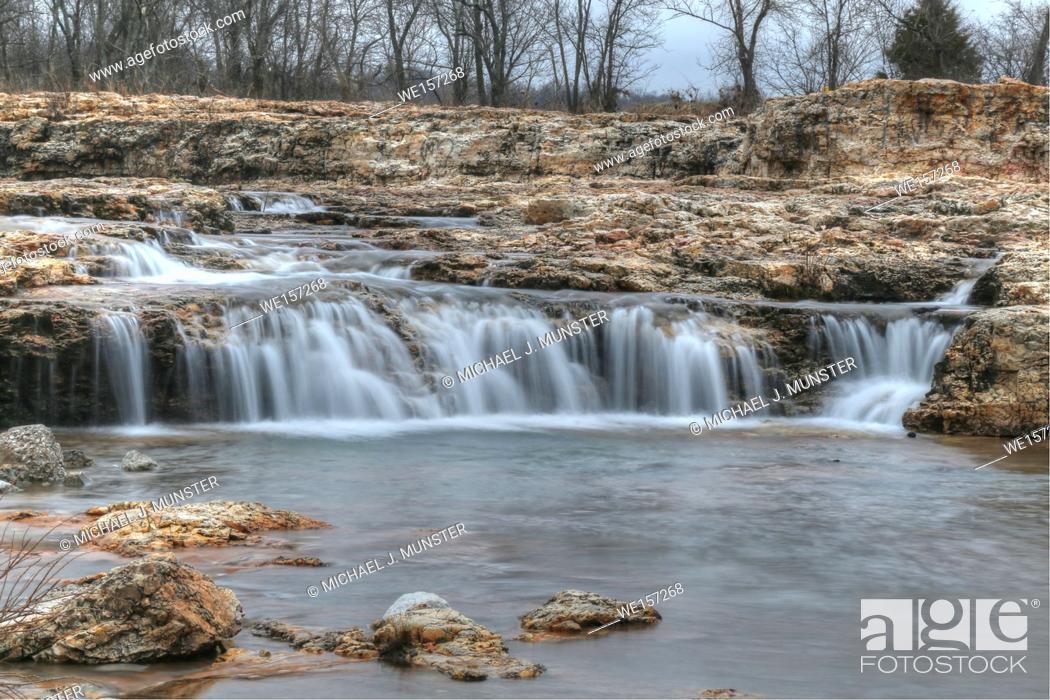 Stock Photo: Grand Falls in Joplin, Missouri.