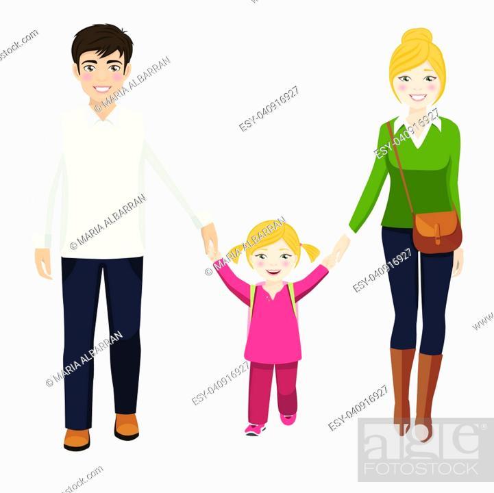 Stock Vector: Girl with her parents walking to school.