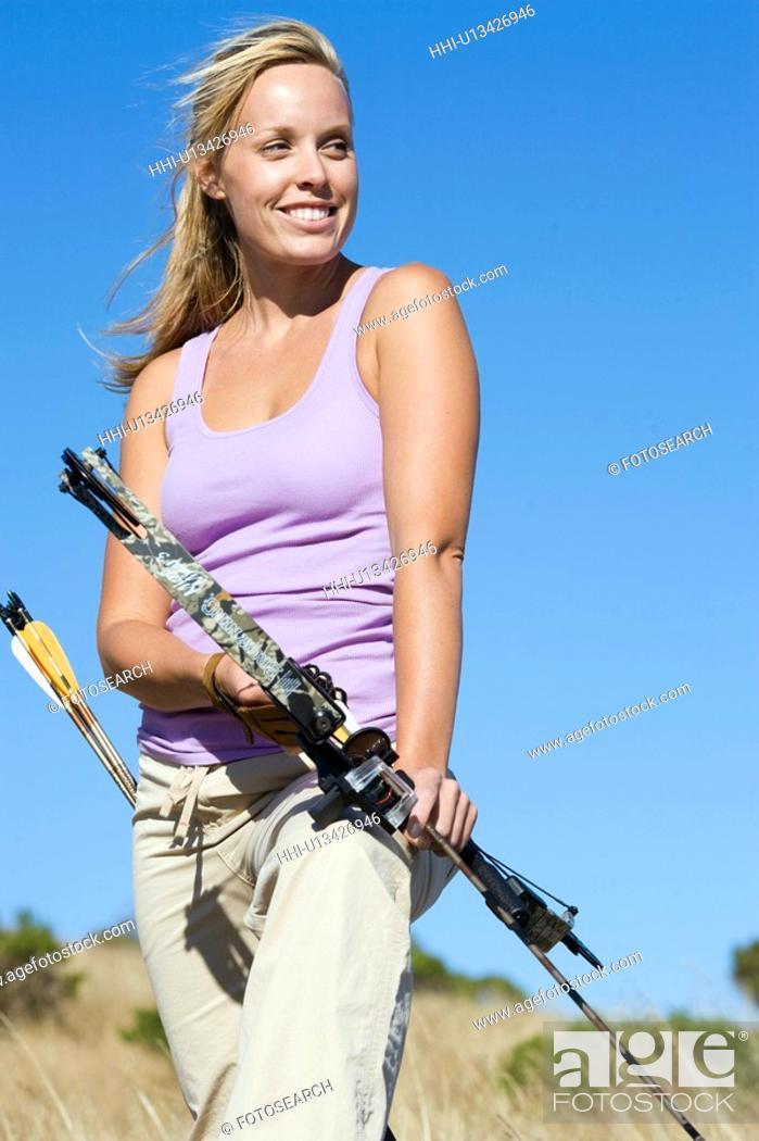 Stock Photo: Female archer.